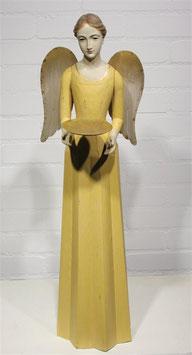 Engel Figur 75 cm gelb mit Flügel Teelichthalter Antik-Finish Holz/Metall Shabby