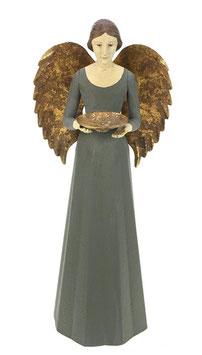 Engel Figur 36 cm grau mit Flügel Teelichthalter Antik-Finish Holz/Metall Shabby