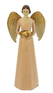 Engel Figur 36 cm rosè mit Flügel gold Teelichthalter Antik-Finish Holz/Metall Shabby