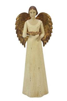 Engel Figur 36 cm antikweiß mit Flügel Teelichthalter Antik-Finish Holz/Metall Shabby