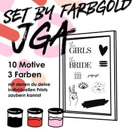 """Siebdruck Set """"JGA"""" by Farbogld für zu Hause"""