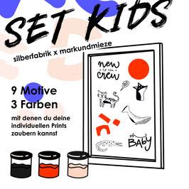 """SIEBDRUCK SET """"KIDS"""" FÜR ZU HAUSE Mark+Mieze x silberfabrik"""