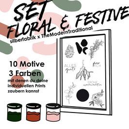 """SIEBDRUCK SET """"Floral & Festive"""" FÜR ZU HAUSE  The Modern Traditionel x silberfabrik"""