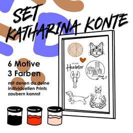 """Siebdruck Set """"Katharina Konte"""" für zu Hause"""
