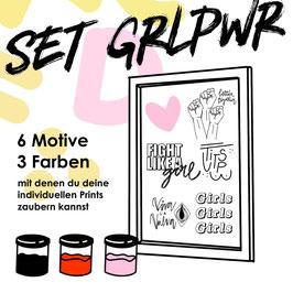 """Siebdruck Set """"GRLPWR"""" für zu Hause"""
