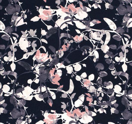 Viskosejersey Blätter navy