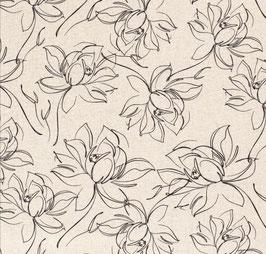 Viskoseleinen Blumen sketch off white
