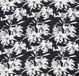 Viskoseleinen Blumen navy