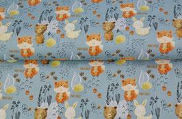 BW Fuchs/ Bär/ Hase auf hellblau
