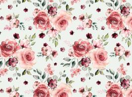 Jersey Rosenblüten weiß