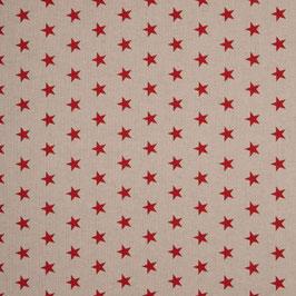 BW Leinenoptik Sterne rot