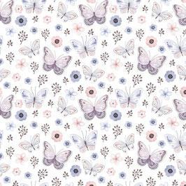 Jersey GOTS Schmetterlinge weiß