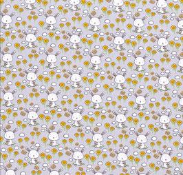 Jersey Hasen/Blumen grau