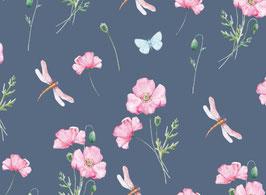 Jersey Blumen/ Libellen dunkelblau