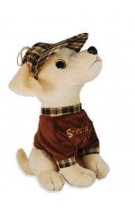 """Pluchen hondje. Bruin shirt met tekst """"Special love'"""