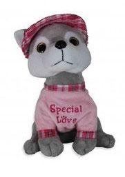 "Pluchen hondje. Rose shirt met tekst ""Special love"""
