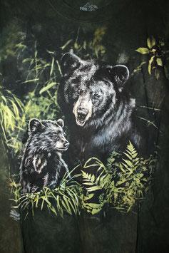 Schwarzbär mit Jungem Dunkelgrün