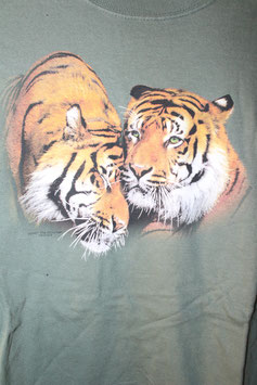 2 Tiger on Green without Batik