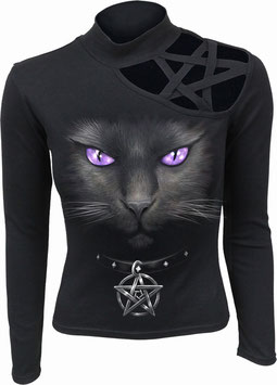 Black Cat Pentagram LS