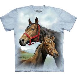 Pferd mit Jungem hellblau