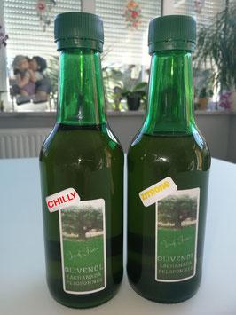 Olivenöl direkt aus Griechenland mit Zitrone oder Chilly, 0,25 L