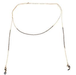 Brillen-& Maskenkette Gold mit schwarzen Perlenbeads
