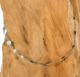 Brillen-& Maskenkette, Silber mit hellblauen Beads