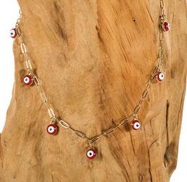Brillen-& Maskenkette, Gold mit roten Nazar-Charms