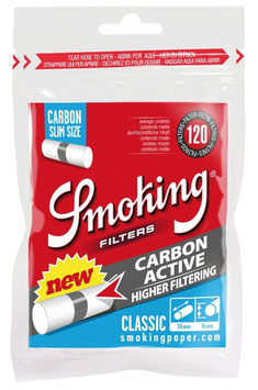 Smoking Slim Watte-Filter Classic Aktivkohle- 6mm (10 x 120 Stk.)