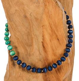 Brillen-& Maskenkette, Perlen in blau und türkis, irisierend
