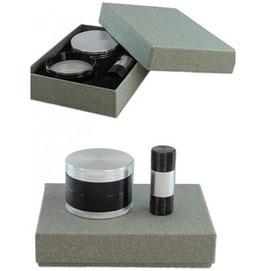 Grinder 4-teilig & Pollenpresse Set - Chrom / Schwarz