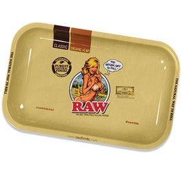 Raw Girl Metal Rolling Tray: Small