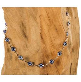 Brillen-& Maskenkette Gold mit blauen Nazar-Beads