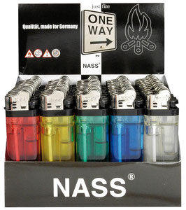 50 x Feuerzeug Einweg Transparent farbig