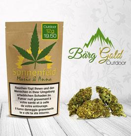 Sonnenfeld CBD Blüten: Bärg Gold Outdoor 12g - (5 Beutel Pro Box)
