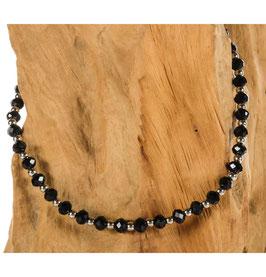 Brillen-& Maskenkette, Chain Silber mit schwarzen Perlenbeads