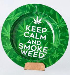 Aschenbecher Keep Calm & Smoke Weed, Aluminium