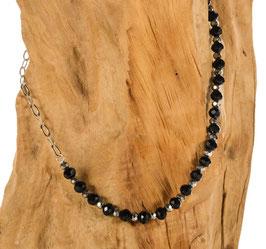 Brillen-& Maskenkette Preppy, silber mit schwarzen Perlenbeads
