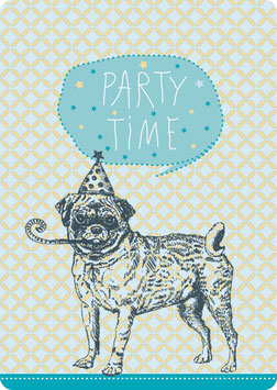 Postkarte – MOPS -Party Time-  (KL 14118)