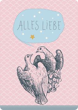 Postkarte – TAUBENPAAR -Alles Liebe-  (KL 14121)
