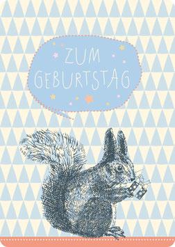 Postkarte – EICHHÖRNCHEN -Zum Geburtstag-  (KL 14111)