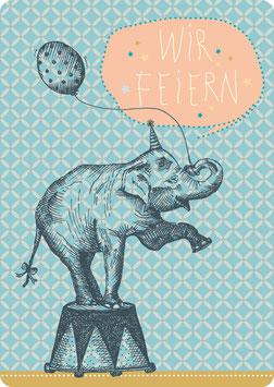 Postkarte – ELEFANT -Wir Feiern- (KL 14122)