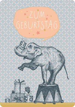 Postkarte – ELEFANT -Zum Geburtstag-  (KL 14114)