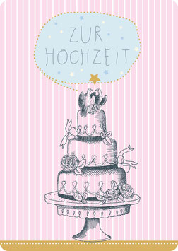 Postkarte – TORTE MIT TAUBEN - Zur Hochzeit-  (KL 14119)