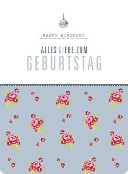 Postkarte – ROSEN Typo -Geburtstag-  (KL 15142)