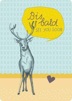 Postkarte – HIRSCH -Bis Bald-  (KL 15131)