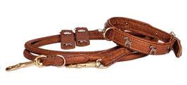 Gold Braun - Terrier Lederhalsband / passende Leine