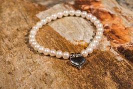 Perlenarmband mit Herz und 925 er Echtsilber PE0011