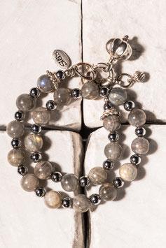 Labradoritarmband mit Pyrit, Silberanhänger und 925er Echtsilber LA0008