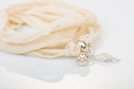 Armband Light008 mit einem Seidenband und Silberelemente in 925 er Echtsilber